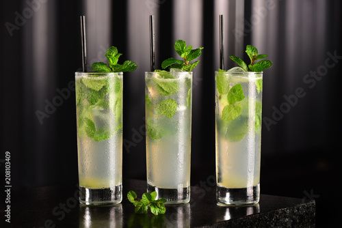 Mojito glass on dark background