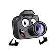 Happy cartoon camera mascot is smiling and with thumbs up. - 208104629