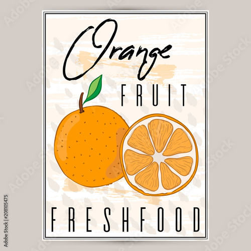 A beautiful label for products with orange is a rectangular shape. Farm products, a sticker for fruit, a poster for a store, a banner. Colorfull illustration. - 208105475