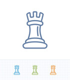 Tower Chess Piece - Contrast Stroke Icons. A professional, pixel-perfect icon.