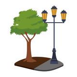 Streetlight in park vector illustration graphic design - 208111020