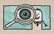 Cartoon Businessman with Big Eye on a Magnifyer