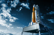 Leinwanddruck Bild - Space Launch System On Launchpad Over Background Of Sky