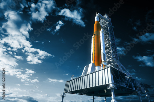 Leinwanddruck Bild Space Launch System On Launchpad Over Background Of Sky