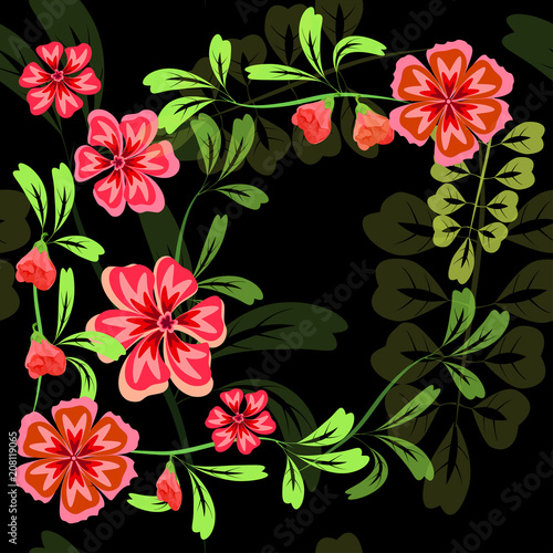 Vector seamless pattern of pink flowers and leaves on a dark background - 208119065