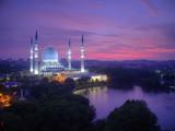 Sunrise at The beautiful Sultan Salahuddin Abdul Aziz Shah Mosque, located at Shah Alam, Selangor, Malaysia.