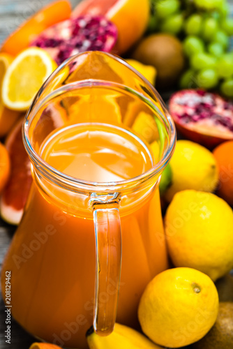 Aluminium Sap Fresh juice with fruits, healthy juice with tropical fruit, vitamin drink and refreshing for summer