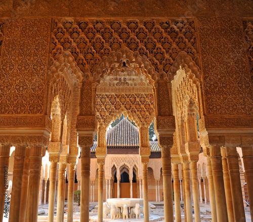 Patio de los Leones, Courtyard of the Lions, Alhambra, Granada