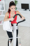 sporty woman training on step machine in bright living room - 208133857