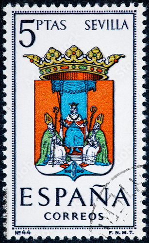 stamp printed in Spain dedicated to Arms of Provincial Capitals shows Sevilla
