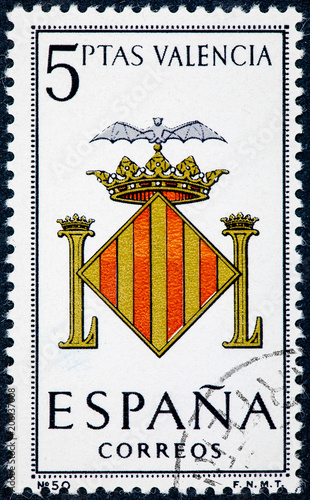 stamp printed in Spain dedicated to Arms of Provincial Capitals shows Valencia