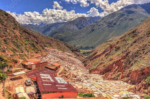 Fotobehang Cappuccino Maras salt mine, Cuzco, Peru