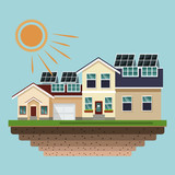 Houses with solar panels at roofs vector illustration graphic design - 208139640