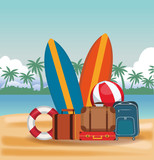 Beach and vacations cartoon elements vector illustration graphic design - 208140436