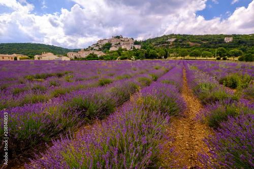 Aluminium Lavendel Vue panoramique sur le village de Simiane la Rotonde, Alpes de Haute Provence, france. Champ de lavande au premier plan.