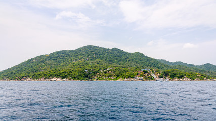 Beautiful natural landscape of Koh Tao island and blue sea in the summer at the Gulf of Thailand, Ko Pha-ngan, Surat Thani Province, Thailand, 16:9 Widescreen