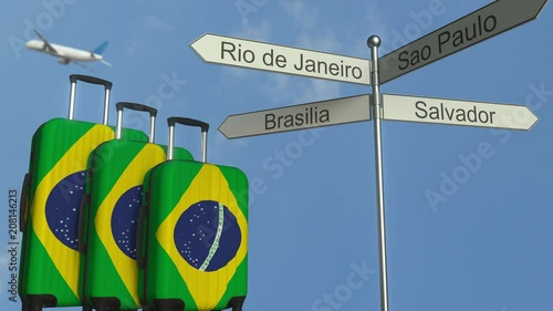 Travel baggage featuring flag of Brazil, airplane and city sign post. Brazilian tourism conceptual animation