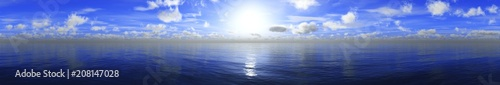 Canvas Blauwe hemel panorama of the sea landscape, sunset over the water, clouds in the sky above the ocean, 3D rendering