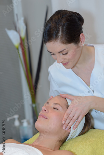 Fotobehang Spa brunette getting massage spa treatment