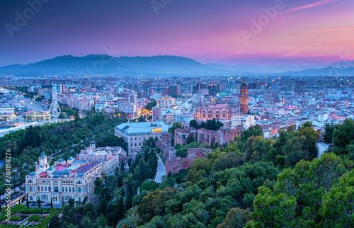 Colorful sunset over Malaga