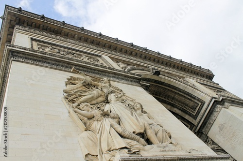 Wall mural Arc de Triomphe Arch of triumph on Charles de Gaulle Etoile place Les Champs Elysees Paris France