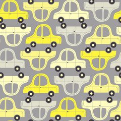 seamless pattern with yellow and gray cars - vector illustration, eps