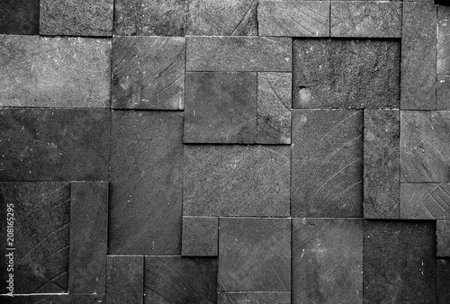 Black stone wall texture background. - 208165295
