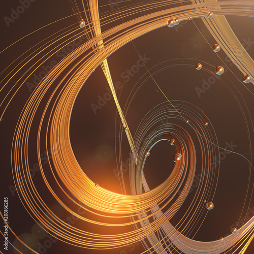 Abstract 3d rendering gold jewelry