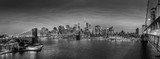 Brooklyn, Brooklyn park, Brooklyn Bridge, Janes Carousel and Lower Manhattan skyline at night seen from Manhattan bridge, New York city, USA. Black and white wide angle panoramic image. - 208170490