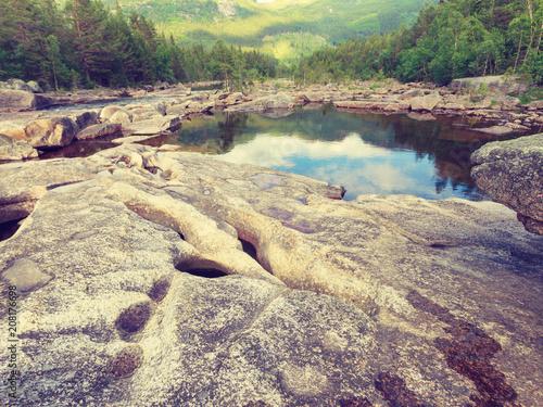 Foto Murales Beautiful view of mountain river in summer