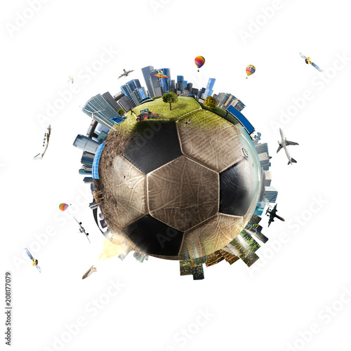 Global view of soccer world. football ball as a planet - 208177079