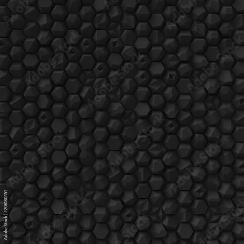 Black abstract hexagons backdrop - 208180451