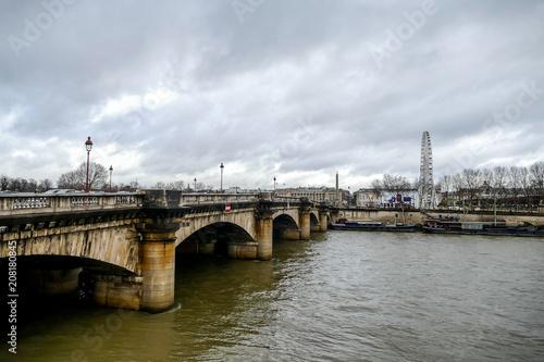 Fotobehang Bruggen Bridge over senna river, Photo image a Beautiful panoramic view of Paris Metropolitan City