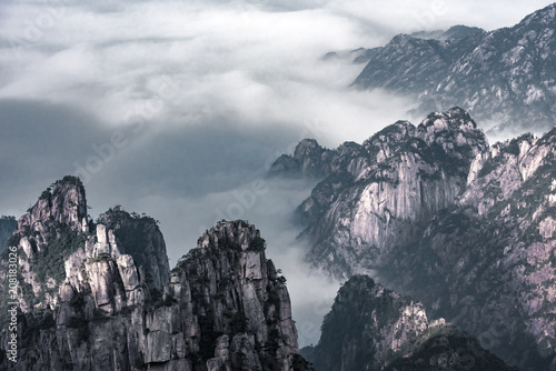 Aluminium Grijs View point of Stone monkey on the top of mountain, Huangshan mountain Cloud Sea Scenery, East China`s Anhui Province.