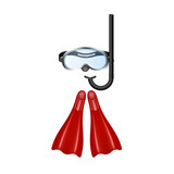 Retro diving goggles with red flippers - 208184007