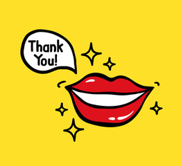 Pop art vector smiling red lips with text Thank you