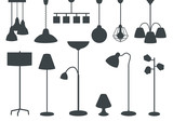 set of modern electric lamps, chandeliers, floor lamps. silhouette - 208198049