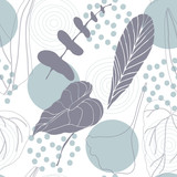 Botanical vector seamless pattern with hand drawn  tropical  leaves  and geometric background. - 208199064