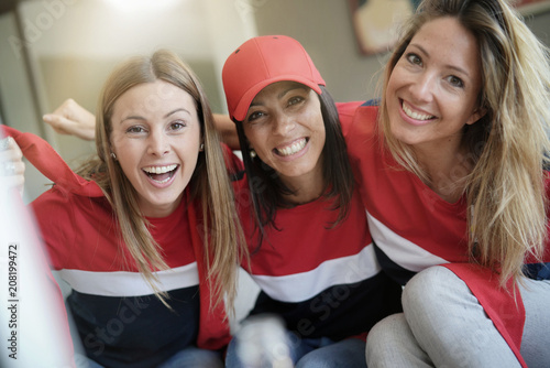 Fotobehang Voetbal Portrait of cheerful football fans