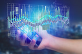 3d render Stock exchange trading data information display on a futuristic interface