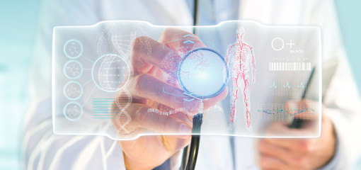 Doctor holding a Futuristic template interface hud © Production Perig