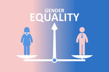 Gender equality concept. Male and female standing on balance.  - 208200642