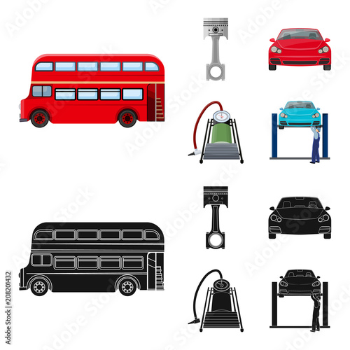 Fotobehang Auto Car on lift, piston and pump cartoon,black icons in set collection for design.Car maintenance station vector symbol stock illustration web.