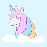 hand drawing cute unicorn icon stock vector illustration design - 208201649