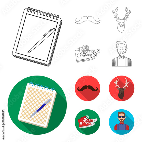 Fotobehang Hipster Hert Hipster, fashion, style, subculture .Hipster style set collection icons in outline,flat style vector symbol stock illustration web.
