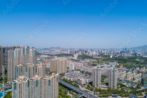 Aerial view over the Nanjing city, urban architectural landscape © MyCreative