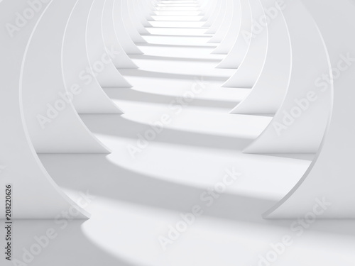 Abstract white tunnel interior 3 d