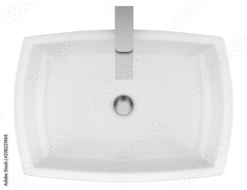 top view of ceramic bathroom sink isolated on white background
