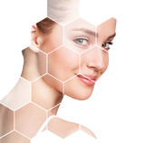 Beautiful female face in honeycombs. Spa concept. - 208223288