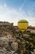 closeup view of hot air balloons fliyng over city, Cappadocia, Turkey